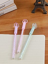 Crystal Apple Decoration Stylish Multi Color Gel Pen (Random Delivery)