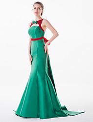 Formal Evening Dress - Petite Trumpet/Mermaid Jewel Court Train Satin