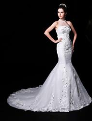 Trumpet/Mermaid Wedding Dress - White Court Train High Neck Lace/Organza/Charmeuse