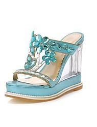 Zapatillas ( Azul/Plateado/Dorado Zapatos con plataforma/Punta abierta - Tacón Cuña - Cuero sintético - para MUJERES