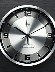 12 inch Modern/Contemporary/Office/Business Aluminum/Metal Round Wall Clock Noiseless Clock Silver Metal Dial