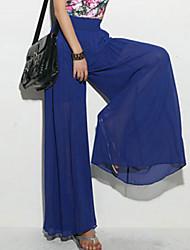 Mulheres Calças Casual Bootcut Malha Micro-Elástica Mulheres