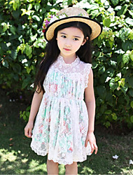 Girl's Cute Lace Splice Mesh Print Sleeveless Dresses