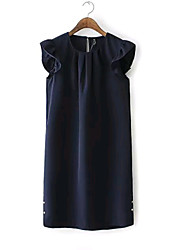 Women's New Fashion Metal Button Sexy/Casual Inelastic Sleeveless Knee-length Dress (Chiffon)