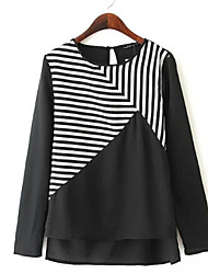 Women's Europe  Colorful Stripe Long Sleeve Shirts