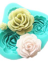 4 розы торта силикона прессформы выпечки инструменты кухонные принадлежности помадные формы шоколада Sugarcraft инструменты украшения