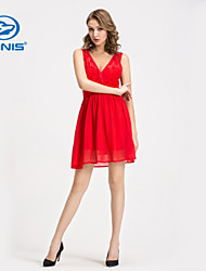 CANIS@Women's Sexy Floral Lace Sleeveless Tunic Cocktail Midi Dress