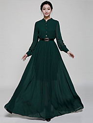 YINQIAN®Women's Vintage Long Sleeve Full Length Dress