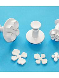 cuatro c émbolo de plástico hortensias cutter set 3, cortadores fondant / sugarcraft / Gumpaste / mazapán