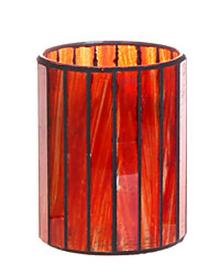 Home Impressions™  3*4 Inch Red Vertical Stripes Mosaic Glass with Flameless Led Candle with Timer, Battery Operate