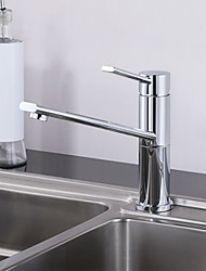 Warpeu® 360 Turnable Spout Brass Chrome Single Handle Deck Mounted Countertop Kitchen Sink Faucet Mixer
