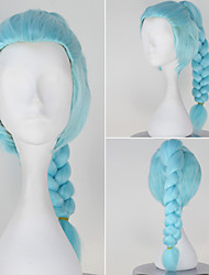 Death Parade Nona Girl's Long Braid Light Sky Blue Color Anime Cosplay Wig
