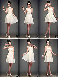 Homecoming Knee-length Chiffon Bridesmaid Dress Ball Gown One Shoulder/V-neck/Halter/Strapless/Jewel