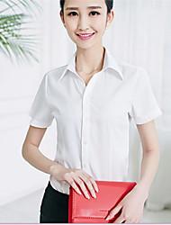 Women's Lapel Solid Color Short Sleeve OL Shirt