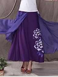 Women's Hemp Material Splicing Hand-painted Skirt