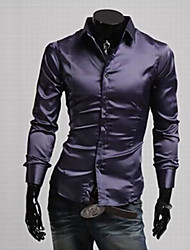 Men's Solid Casual / Work / Formal / Plus Sizes Shirt,Silk / Cotton Blend / Elastic / Satin Long Sleeve Black / Purple / Red