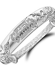 KIKI 925 version of dragon and Phoenix bangles silver China Fu