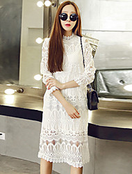 Women's Lace Stand Collar ¾ Sleeve Knee-Length Dress (Lace)