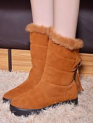 Botas ( Negro/Bronceado ) - Botas hasta media pierna - Comfort/Dedo redondo - Plataforma - Piel - para MUJERES