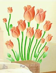 стикеры стены наклейки на стены, оранжевый тюльпан наклейки стены PVC