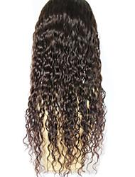 rizada del frente del cordón sin cola pelo virginal brasileño pelucas pelucas del pelo humano para las mujeres negras pelucas