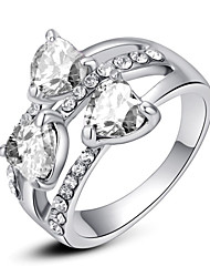 T&C Women's Exquisite Triple Heart Sapphire Fashion Ring 18K White Gold Plated Shining Clear Austria Crystal Jewelry