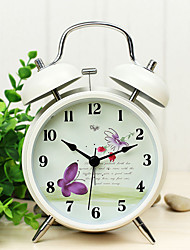 "British Rural Style 4""Dial Twin Bell Mute Alarm Clock Ivory Clock Butterfly Dial Home Decorative Clock Original Design"
