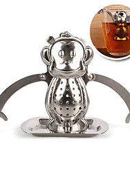Stainless Steel Monkey Hanging Tea Strainer Infuser with Drip Tray