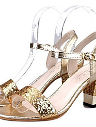 Women's Shoes Gold/Silver Chunky Heel 3-6cm Sandals (Rubber)