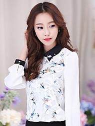 Women's Print White Blouse , Shirt Collar Long Sleeve