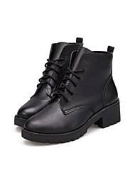 Botas ( Negro ) - Botines / Botines - Comfort/Dedo redondo - Tacón Ancho - Piel - para MUJERES