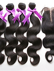 4pcs / lot indian virgin hair met sluiting 3 bundels onbewerkt indian lichaamshaar inslag met vetersluiting