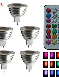 5 kpl SchöneColors® GU5,3 4.0 W 1PCS Teho-LED 300LM LM RGB/Väriä vaihtava MR16 Himmennettävä/Kauko-ohjattava/Koristeltu KohdevalaisimetDC