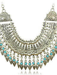 Women's  Necklaces with Silver and Turquoise Beads Tassel Pendants of New Arrival Bohemia Style Vintage