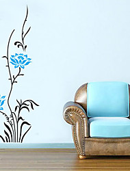 Wall Stickers Wall Decals, Blue Flower PVC Wall Stickers