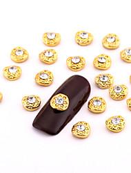 New 10PCS Small Gold Nail Art Jewelry Alloy Rhinestone Diamond Nail Art Stud for DIY Salon Nails Decorations