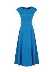 Women's Blue/Black Dress , Vintage/Casual Short Sleeve