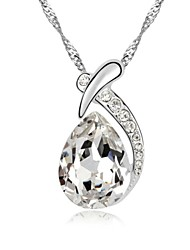 Corn Poppy Short Necklace Plated with 18K True Platinum Crystal Clear Crystallized Austrian Crystal Stones