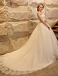 Ball Gown Wedding Dress - Elegant & Luxurious / Glamorous & Dramatic Vintage Inspired / Lacy Looks Cathedral Train Straps Tulle with
