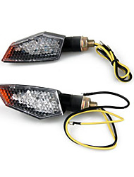 2 X Motorcycle 18 LED Stalk Turn Signals Indicators Yellow Light
