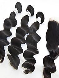 4pcs chiusura lot capelli umani brasiliani, con vendite i peli neri onda allentata 3 fasci naturali