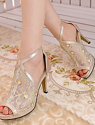 Women's Shoes Stiletto Heel Heels/Peep Toe Sandals Party & Evening/Dress Black/Silver/Gold