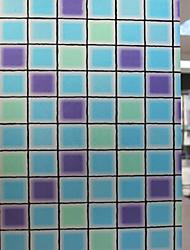 film de fenêtre à carreaux bleu givré classique