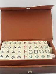 mini portátil mahjong viajar con la caja de cuero 144pcs azulejos juego chino