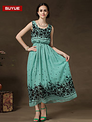 suyue® chiffon tremores vestido sem mangas maxi vintage novas mulheres da moda