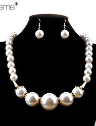 Lureme®Fashion Pearl Acrylic Horn Jewelry Sets