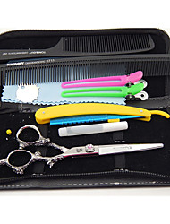 6.0 inch Japanese Hitachi 440C Stainless Steel Dragon Handle Hairdressing Scissors with gifts :  razor & clip & comb