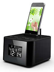 Braudel® two-channel stereo  bedside Bluetooth Speaker with calendar display, dual alarm clock, FM radio, card play