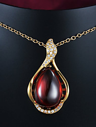 Hot Selling Products 18K Yellow Gold Plated Pendant Necklace with Red Opal
