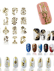 108 Pcs of Luxurious Atmosphere hollow Retro Gold 3D Nail Stickers